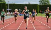 1 June 2019; Jenna Breen of Grosvenor Grammar School, Co. Antrim, centre, on her way to winning the Inter Girls 300m event during the Irish Life Health All-Ireland Schools Track and Field Championships in Tullamore, Co Offaly. Photo by Sam Barnes/Sportsfile