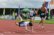 1 June 2019; Conor O'Carroll of St Colman's Newry, Co. Down, left, on his way to winning the Inter-Boys 400m event during the Irish Life Health All-Ireland Schools Track and Field Championships in Tullamore, Co Offaly. Photo by Sam Barnes/Sportsfile