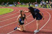 1 June 2019; Jenna Breen of Grosvenor Grammar School, Co. Antrim, is congratulated after winning the Inter Girls 300m event during the Irish Life Health All-Ireland Schools Track and Field Championships in Tullamore, Co Offaly. Photo by Sam Barnes/Sportsfile