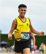 1 June 2019; Abdul Lacidiet of Kishoge Community College, Co. Dublin, celebrates winning the Under 16 Boys Mile event during the Irish Life Health All-Ireland Schools Track and Field Championships in Tullamore, Co Offaly. Photo by Sam Barnes/Sportsfile