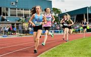1 June 2019; Hannah Kehoe of Loreto, Co. Kilkenny, left, competing in the Junior Girls 1500m event during the Irish Life Health All-Ireland Schools Track and Field Championships in Tullamore, Co Offaly. Photo by Sam Barnes/Sportsfile