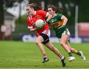 1 June 2019; Eimear Kiely of Cork in action against Sarah Houlihan of Kerry during the TG4 Munster Ladies Football Senior Championship match between Cork and Kerry at Páirc Ui Rinn in Cork. Photo by Matt Browne/Sportsfile