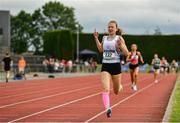1 June 2019; Aimee Hayde of St Mary's S S Newport, Co. Tipperary, celebrates on her way to winning the Inter Girls 1500m event during the Irish Life Health All-Ireland Schools Track and Field Championships in Tullamore, Co Offaly. Photo by Sam Barnes/Sportsfile