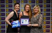 31 May 2019; The 2019 Teams of the Lidl Ladies National Football League awards were presented at Croke Park on Friday, May 31. The best players from the four divisions in the Lidl National Football Leagues were selected by the LGFA's All Star committee. Louise Ward of Galway is pictured receiving her Division 1 award from Marie Hickey, Ladies Gaelic Football Association President, and Sian Gray, Head of Marketing, Lidl Ireland. Photo by David Fitzgerald/Sportsfile