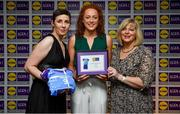31 May 2019; The 2019 Teams of the Lidl Ladies National Football League awards were presented at Croke Park on Friday, May 31. The best players from the four divisions in the Lidl National Football Leagues were selected by the LGFA's All Star committee. Niamh Cotter of Cork is pictured receiving her Division 1 award from Marie Hickey, Ladies Gaelic Football Association President, and Sian Gray, Head of Marketing, Lidl Ireland. Photo by David Fitzgerald/Sportsfile