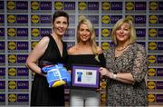 31 May 2019; The 2019 Teams of the Lidl Ladies National Football League awards were presented at Croke Park on Friday, May 31. The best players from the four divisions in the Lidl National Football Leagues were selected by the LGFA's All Star committee. Orla Finn of Cork is pictured receiving her Division 1 award from Marie Hickey, Ladies Gaelic Football Association President, and Sian Gray, Head of Marketing, Lidl Ireland. Photo by David Fitzgerald/Sportsfile