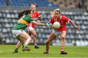 1 June 2019; Orla Finn of Cork in action against Ciara O'Brien of Kerry during the TG4 Munster Ladies Football Senior Championship match between Cork and Kerry at Páirc Ui Rinn in Cork. Photo by Matt Browne/Sportsfile