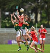 1 June 2019; Daire Kiely and Orla Finn of Cork in action against Anna Galvin and Niamh Carmody of Kerry during the TG4 Munster Ladies Football Senior Championship match between Cork and Kerry at Páirc Ui Rinn in Cork. Photo by Matt Browne/Sportsfile