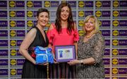 31 May 2019; The 2019 Teams of the Lidl Ladies National Football League awards were presented at Croke Park on Friday, May 31. The best players from the four divisions in the Lidl National Football Leagues were selected by the LGFA's All Star committee. Michelle Ryan of Waterford is pictured receiving her Division 2 award from Marie Hickey, Ladies Gaelic Football Association President, and Sian Gray, Head of Marketing, Lidl Ireland. Photo by David Fitzgerald/Sportsfile