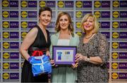 31 May 2019; The 2019 Teams of the Lidl Ladies National Football League awards were presented at Croke Park on Friday, May 31. The best players from the four divisions in the Lidl National Football Leagues were selected by the LGFA's All Star committee. Sinéad Burke of Galway is pictured receiving her Division 1 award from Marie Hickey, Ladies Gaelic Football Association President, and Sian Gray, Head of Marketing, Lidl Ireland. Photo by David Fitzgerald/Sportsfile