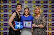 31 May 2019; The 2019 Teams of the Lidl Ladies National Football League awards were presented at Croke Park on Friday, May 31. The best players from the four divisions in the Lidl National Football Leagues were selected by the LGFA's All Star committee. Aileen Wall of Waterford is pictured receiving her Division 2 award from Marie Hickey, Ladies Gaelic Football Association President, and Sian Gray, Head of Marketing, Lidl Ireland. Photo by David Fitzgerald/Sportsfile