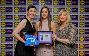 31 May 2019; The 2019 Teams of the Lidl Ladies National Football League awards were presented at Croke Park on Friday, May 31. The best players from the four divisions in the Lidl National Football Leagues were selected by the LGFA's All Star committee. Niamh O'Dea of Clare is pictured receiving her Division 2 award from Marie Hickey, Ladies Gaelic Football Association President, and Sian Gray, Head of Marketing, Lidl Ireland. Photo by David Fitzgerald/Sportsfile
