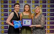 31 May 2019; The 2019 Teams of the Lidl Ladies National Football League awards were presented at Croke Park on Friday, May 31. The best players from the four divisions in the Lidl National Football Leagues were selected by the LGFA's All Star committee. Aimee Mackin of Armagh is pictured receiving her Division 2 award from Marie Hickey, Ladies Gaelic Football Association President, and Sian Gray, Head of Marketing, Lidl Ireland. Photo by David Fitzgerald/Sportsfile