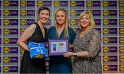 31 May 2019; The 2019 Teams of the Lidl Ladies National Football League awards were presented at Croke Park on Friday, May 31. The best players from the four divisions in the Lidl National Football Leagues were selected by the LGFA's All Star committee. Neamh Woods of Tyrone is pictured receiving her Division 2 award from Marie Hickey, Ladies Gaelic Football Association President, and Sian Gray, Head of Marketing, Lidl Ireland. Photo by David Fitzgerald/Sportsfile