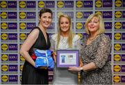 31 May 2019; The 2019 Teams of the Lidl Ladies National Football League awards were presented at Croke Park on Friday, May 31. The best players from the four divisions in the Lidl National Football Leagues were selected by the LGFA's All Star committee. Donna English of Cavan is pictured receiving her Division 2 award from Marie Hickey, Ladies Gaelic Football Association President, and Sian Gray, Head of Marketing, Lidl Ireland. Photo by David Fitzgerald/Sportsfile