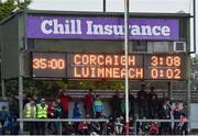1 June 2019; The half time score ftom Cork v Limerick during the Munster GAA Football Senior Championship semi-final match between Cork and Limerick at Páirc Ui Rinn in Cork. Photo by Matt Browne/Sportsfile
