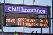 1 June 2019; The final score after the Cork v Limerick  Munster GAA Football Senior Championship semi-final match between Cork and Limerick at Páirc Ui Rinn in Cork. Photo by Matt Browne/Sportsfile
