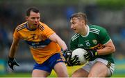 1 June 2019; James O'Donoghue of Kerry of Kerry in action against Kevin Harnett of Clare of Clare during the Munster GAA Football Senior Championship semi-final match between Clare and Kerry at Cusack Park in Ennis, Co Clare. Photo by Diarmuid Greene/Sportsfile