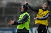 1 June 2019; Clare manager Colm Collins, left, and selector Enda Coughlan react to a decision by referee James Molloy during the Munster GAA Football Senior Championship semi-final match between Clare and Kerry at Cusack Park in Ennis, Co Clare. Photo by Diarmuid Greene/Sportsfile