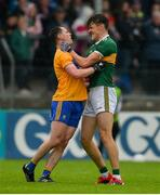 1 June 2019; Kevin Harnett of Clare and David Clifford of Kerry tussle off the ball during the Munster GAA Football Senior Championship semi-final match between Clare and Kerry at Cusack Park in Ennis, Co Clare. Photo by Diarmuid Greene/Sportsfile