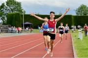 1 June 2019; Matteo Mary of St. Declans, Co. Waterford, celebrates on his way to winning the Inter Boys 1500m event during the Irish Life Health All-Ireland Schools Track and Field Championships in Tullamore, Co Offaly. Photo by Sam Barnes/Sportsfile