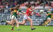 1 June 2019; Ciara O'Sullivan of Cork  in action against Ciara Murphy and Linda Bruggener of Kerry during the TG4 Munster Ladies Football Senior Championship match between Cork and Kerry at Páirc Ui Rinn in Cork. Photo by Matt Browne/Sportsfile