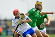 2 June 2019; Jake Foley of Waterford in action against Colin Coughlan, left, and Ronan Lyons of Limerick during the Electric Ireland Munster Minor Hurling Championship Round 3 match between Waterford and Limerick at Walsh Park in Waterford. Photo by Ramsey Cardy/Sportsfile