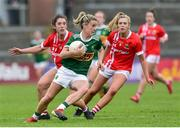 1 June 2019; Amy Foley of Kerry in action against Ciara O'Sullivan and Maire O'Callaghan of Cork during the TG4 Munster Ladies Football Senior Championship match between Cork and Kerry at Páirc Ui Rinn in Cork. Photo by Matt Browne/Sportsfile