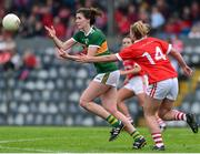 1 June 2019; Lorraine Scanlon of Kerry in action against Saoirse Noonan of Cork during the TG4 Munster Ladies Football Senior Championship match between Cork and Kerry at Páirc Ui Rinn in Cork. Photo by Matt Browne/Sportsfile