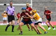 2 June 2019; Aimee McAleenan of Down in action against Katie McAleese of Antrim during the Ulster Camogie Final match between Antrim and Down at St Tiernach's Park in Clones, Monaghan Photo by Oliver McVeigh/Sportsfile