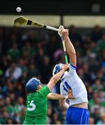2 June 2019; Stephen Bennett of Waterford in action against Mike Casey of Limerick during the Munster GAA Hurling Senior Championship Round 3 match between Waterford and Limerick at Walsh Park in Waterford. Photo by Ramsey Cardy/Sportsfile