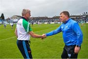 2 June 2019; Limerick manager John Kiely, left, shakes hands with Waterford manager Paraic Fanning following the Munster GAA Hurling Senior Championship Round 3 match between Waterford and Limerick at Walsh Park in Waterford. Photo by Ramsey Cardy/Sportsfile