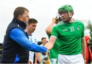 2 June 2019; Waterford manager Paraic Fanning shakes hands with Shane Dowling of Limerick following the Munster GAA Hurling Senior Championship Round 3 match between Waterford and Limerick at Walsh Park in Waterford. Photo by Ramsey Cardy/Sportsfile