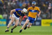 2 June 2019; Pádraic Maher of Tipperary in action against Diarmuid Ryan of Clare during the Munster GAA Hurling Senior Championship Round 3 match between Clare and Tipperary at Cusack Park in Ennis, Co Clare. Photo by Piaras Ó Mídheach/Sportsfile