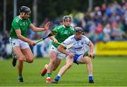 2 June 2019; Kevin Moran of Waterford in action against Gearoid Hegarty, left, and Darragh O'Donovan of Limerick during the Munster GAA Hurling Senior Championship Round 3 match between Waterford and Limerick at Walsh Park in Waterford. Photo by Ramsey Cardy/Sportsfile