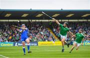 2 June 2019; Stephen O'Keeffe of Waterford in action against Peter Casey, left, and Graeme Mulcahy of Limerick during the Munster GAA Hurling Senior Championship Round 3 match between Waterford and Limerick at Walsh Park in Waterford. Photo by Ramsey Cardy/Sportsfile