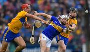 2 June 2019; Brendan Maher of Tipperary in action against Peter Duggan, left, and Tony Kelly of Clare during the Munster GAA Hurling Senior Championship Round 3 match between Clare and Tipperary at Cusack Park in Ennis, Co Clare. Photo by Piaras Ó Mídheach/Sportsfile