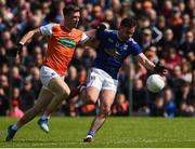 2 June 2019; Niall Murray of Cavan in action against Paul Hughes of Armagh during the Ulster GAA Football Senior Championship Semi-Final match between Cavan and Armagh at St Tiernach's Park in Clones, Monaghan. Photo by Oliver McVeigh/Sportsfile