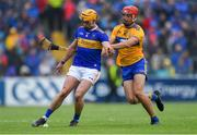 2 June 2019; Ronan Maher of Tipperary in action against Peter Duggan of Clare during the Munster GAA Hurling Senior Championship Round 3 match between Clare and Tipperary at Cusack Park in Ennis, Co Clare. Photo by Piaras Ó Mídheach/Sportsfile