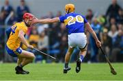2 June 2019; John Conlon of Clare in action against Barry Heffernan of Tipperary during the Munster GAA Hurling Senior Championship Round 3 match between Clare and Tipperary at Cusack Park in Ennis, Co Clare. Photo by Piaras Ó Mídheach/Sportsfile
