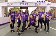 2 June 2019;  VHI Ambassadors, from left, Aoibhín Garrihy, Clare Garrihy, Georgie Crawford, Ailbhe Garrihy, Doireann Garrihy, Pamela Joyce, Nicole Owens and Leanne Moore prior to the 2019 Vhi Women's Mini Marathon. 30,000 women from all over the country took to the streets of Dublin to run, walk and jog the 10km route, raising much needed funds for hundreds of charities around the country. www.vhiwomensminimarathon.ie.  Photo by Sam Barnes/Sportsfile