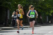 2 June 2019; Aoibhe Richardson of Kilkenny City Harriers, Co. Kilkenny, left, on her way to winning the race the 2019 Vhi Women's Mini Marathon with second placed Catherina Mullen of Metro St. Brigids A.C., Co. Dublin.  30,000 women from all over the country took to the streets of Dublin to run, walk and jog the 10km route, raising much needed funds for hundreds of charities around the country. www.vhiwomensminimarathon.ie.  Photo by Harry Murphy/Sportsfile
