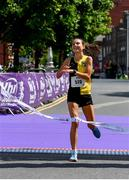 2 June 2019;  Aoibhe Richardson of Kilkenny City Harriers, crosses the finish line to win the 2019 Vhi Women's Mini Marathon. 30,000 women from all over the country took to the streets of Dublin to run, walk and jog the 10km route, raising much needed funds for hundreds of charities around the country. www.vhiwomensminimarathon.ie.  Photo by Sam Barnes/Sportsfile