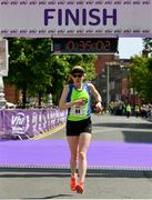 2 June 2019;  Catherina Mullen of Metro St Brigid's AC, Co. Dublin, crosses the finish line to finish second in the 2019 Vhi Women's Mini Marathon. 30,000 women from all over the country took to the streets of Dublin to run, walk and jog the 10km route, raising much needed funds for hundreds of charities around the country. www.vhiwomensminimarathon.ie.  Photo by Sam Barnes/Sportsfile