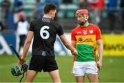 2 June 2019; Chris Crummey of Dublin and Denis Murphy of Carlow shake hands after the Leinster GAA Hurling Senior Championship Round 3B match between Carlow and Dublin at Netwatch Cullen Park in Carlow. Photo by Ray McManus/Sportsfile