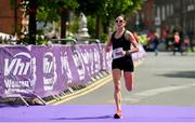 2 June 2019; Breege Connolly crosses the line to finish third in the 2019 Vhi Women's Mini Marathon. 30,000 women from all over the country took to the streets of Dublin to run, walk and jog the 10km route, raising much needed funds for hundreds of charities around the country. www.vhiwomensminimarathon.ie.  Photo by Sam Barnes/Sportsfile