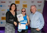 2 June 2019; Sinead Kane from Le Cheile A.C., Kildare, with John O'Dwyer, Chief Executive, Vhi Group, Terri Carthy, board of DSD A.C. winner of the 2019 Vhi Women's Mini Marathon, Visually Impaired Category, following the 2019 Vhi Women's Mini Marathon. 30,000 women from all over the country took to the streets of Dublin to run, walk and jog the 10km route, raising much needed funds for hundreds of charities around the country. www.vhiwomensminimarathon.ie. Photo by Eóin Noonan/Sportsfile