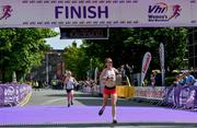 2 June 2019; Ciara Wilson crosses the line to finish fifth in the 2019 Vhi Women's Mini Marathon. 30,000 women from all over the country took to the streets of Dublin to run, walk and jog the 10km route, raising much needed funds for hundreds of charities around the country. www.vhiwomensminimarathon.ie.  Photo by Sam Barnes/Sportsfile