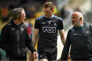 2 June 2019; Dublin manager Mattie Kenny, left, and Ciaran Maguire, right, in conversation with Shane Barrett of Dublin, who was sent off in the first half, as they leave the field for the half time breat at the Leinster GAA Hurling Senior Championship Round 3B match between Carlow and Dublin at Netwatch Cullen Park in Carlow. Photo by Ray McManus/Sportsfile