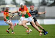 2 June 2019; Jack Kavanagh of Carlow in action against Danny Sutcliffe of Dublin  during Leinster GAA Hurling Senior Championship Round 3B match between Carlow and Dublin at Netwatch Cullen Park in Carlow. Photo by Ray McManus/Sportsfile